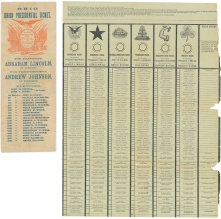 32. Scheda di partito o party ticket, 1864 (a sinistra) e scheda di stato o Australian ballot, 1896 (a destra). National Museum of American History, Smithsonian Institution, Washington, D.C.